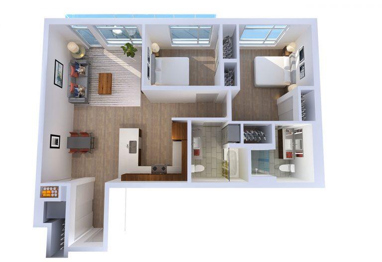 -878 N Fremont – D 2  BED/2 BATH 985 Sq.ft.Sq.ft.